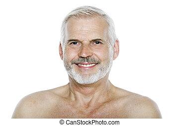 muntre, portræt, senior, smile mand