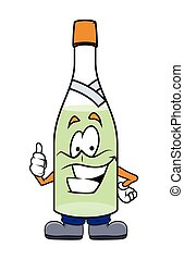 muntre, viser, tommelfingre, flaske, oppe