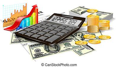muntstukken., rekeningen, rekenmachine