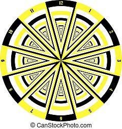 muptiple, δίσκοs τηλεφώνου , ρολόι , κίτρινο , μαύρο , άποψη , αναχωρώ