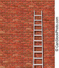 mur, échelle, vieux