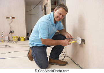 mur, électricien, installation, douille