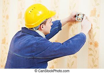 mur, électricien, installation, sortie