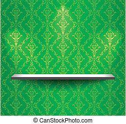 mur, étagère, vert