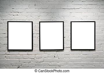 mur, 3, noir, cadres, brique, blanc