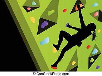 mur, abstrakt, stræber, s, klatr rokk, sport, atleter, børn