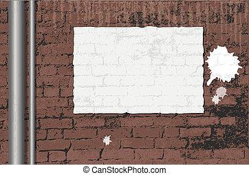 mur, affiche, brique, vide, ongrunge