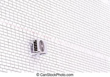 mur, air, dehors, climatiseur, blanc, monté, brique