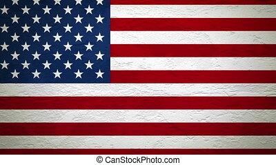 mur, alpha, drapeau, explosion, usa