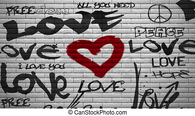 mur, alpha, graffiti, explosion