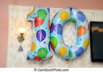 mur, anniversaire, ballons