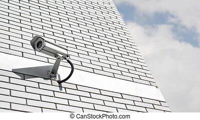 mur, appareil-photo sécurité, cctv