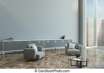 mur, appartement, gris, vide