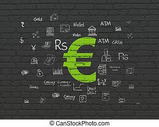 mur, argent, concept:, fond, euro
