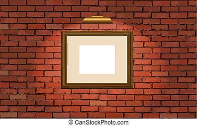 mur, armature bois, vieux, brique