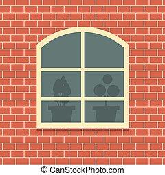 mur, arrière-plan., fenêtre, brique
