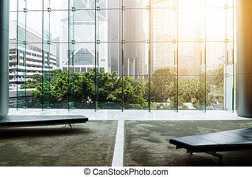 mur, bâtiment verre, bureau