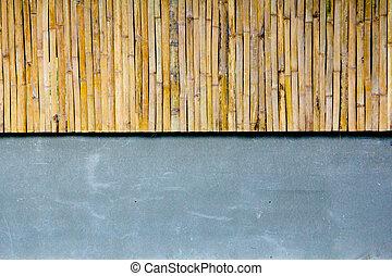 mur, béton, bambou, moitié