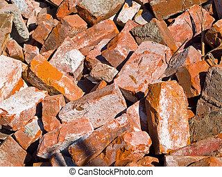 mur, béton, débris, démoli, tas, brique