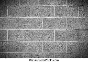 mur, béton, détail, bloc