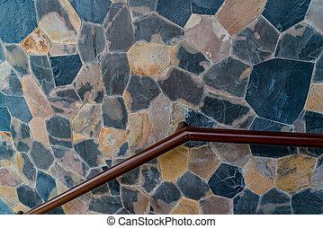 mur, béton, pierre, fer, balustrade