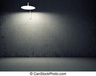 mur, béton, sale, éclairé