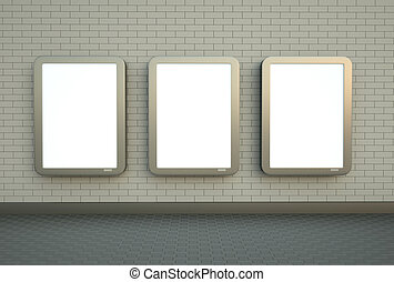 mur, bannières, trois