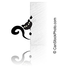 mur, behing, chat noir