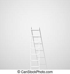 mur, blanc, échelle, contre
