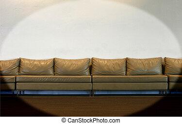 mur, blanc, divan