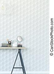 mur blanc, et, bureau
