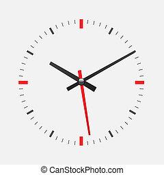 mur, blanc, horloge