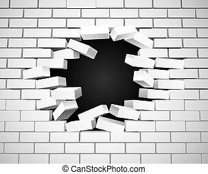 mur, blanc, rupture