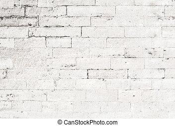 mur, blanc, vieux, brique, fond
