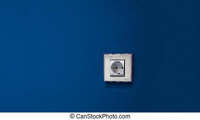 mur, bleu, blanc, douille