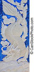 mur, bleu, blanc, dragon