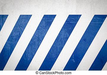 mur bleu, blanc, raies diagonales