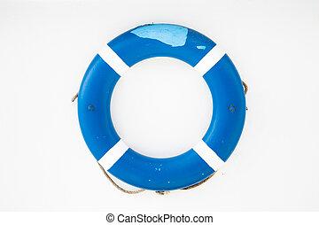 mur bleu, blanc, sauveteur