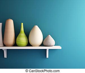 mur bleu, blanc, vase, étagère