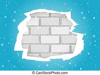 mur bleu, brique, déchiré, papiers peints