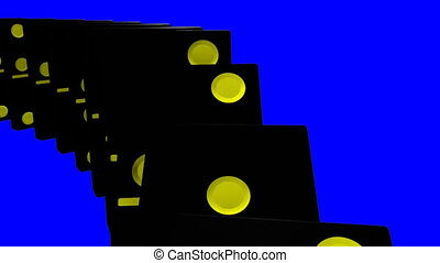mur bleu, contre, dominos, noir, 3d