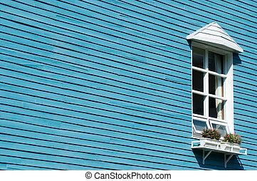 mur bleu, fenêtre, blanc, bois