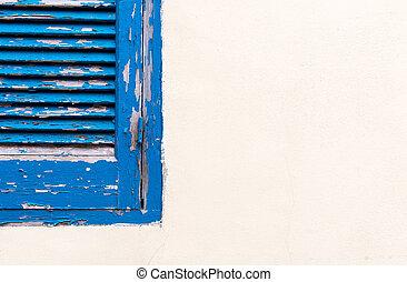 mur bleu, fenêtre, blanc