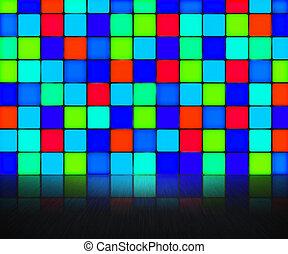 mur bleu, fond, disco