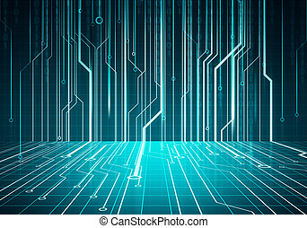 mur bleu, image, circuit, numérique, conceptuel, puce