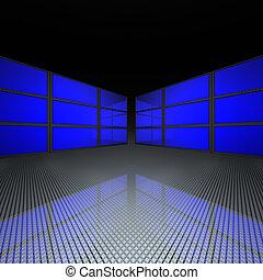 mur, bleu, vidéo, écrans