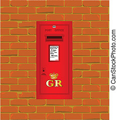 mur, boîte, poste, monté