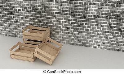 mur bois, boîtes, brique, fond