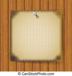 mur bois, brûlé, papier, feuille