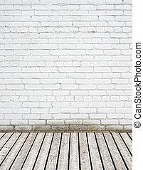 mur, bois, brique blanche, plancher
